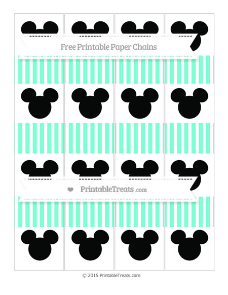 Free Aquamarine Thin Striped Pattern Mickey Mouse Paper Chains