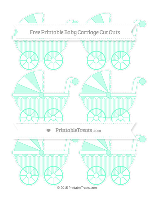 Free Aquamarine Thin Striped Pattern Small Baby Carriage Cut Outs