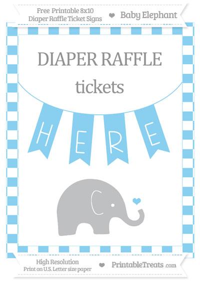 Free Baby Blue Checker Pattern Baby Elephant 8x10 Diaper Raffle Ticket Sign