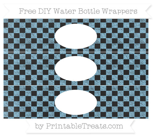 Free Baby Blue Checker Pattern Chalk Style DIY Water Bottle Wrappers
