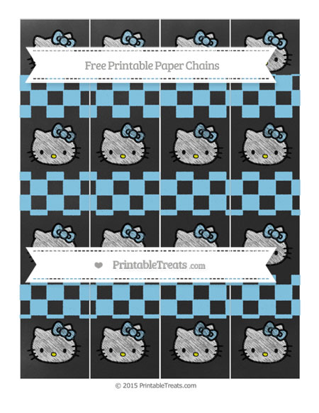 Free Baby Blue Checker Pattern Chalk Style Hello Kitty Paper Chains