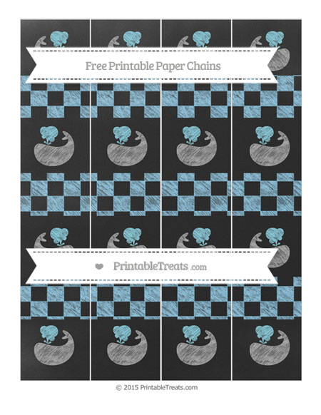 Free Baby Blue Checker Pattern Chalk Style Whale Paper Chains