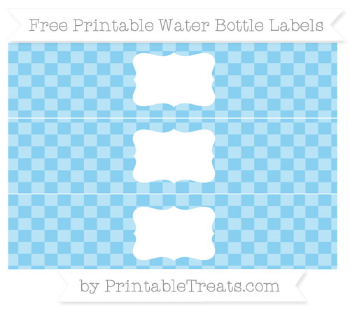 Free Baby Blue Checker Pattern Water Bottle Labels