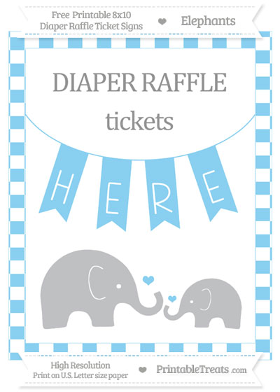 Free Baby Blue Checker Pattern Elephant 8x10 Diaper Raffle Ticket Sign