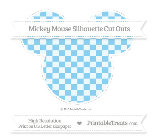 Free Baby Blue Checker Pattern Extra Large Mickey Mouse Silhouette Cut Outs