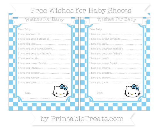Free Baby Blue Checker Pattern Hello Kitty Wishes for Baby Sheets