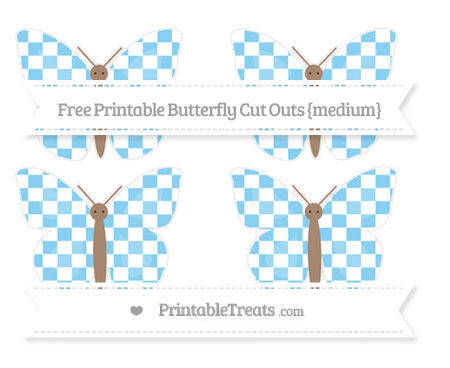 Free Baby Blue Checker Pattern Medium Butterfly Cut Outs