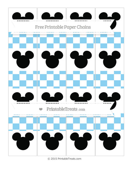 Free Baby Blue Checker Pattern Mickey Mouse Paper Chains