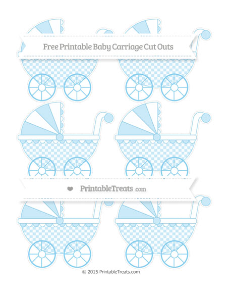 Free Baby Blue Checker Pattern Small Baby Carriage Cut Outs