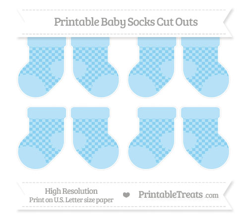 Free Baby Blue Checker Pattern Small Baby Socks Cut Outs