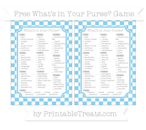 Free Baby Blue Checker Pattern What's in Your Purse Baby Shower Game