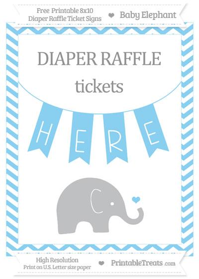 Free Baby Blue Chevron Baby Elephant 8x10 Diaper Raffle Ticket Sign