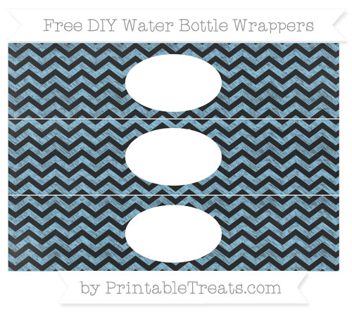 Free Baby Blue Chevron Chalk Style DIY Water Bottle Wrappers