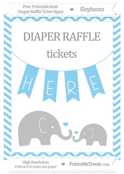 Free Baby Blue Chevron Elephant 8x10 Diaper Raffle Ticket Sign