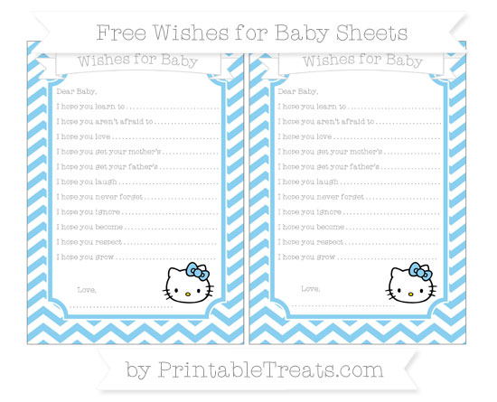 Free Baby Blue Chevron Hello Kitty Wishes for Baby Sheets