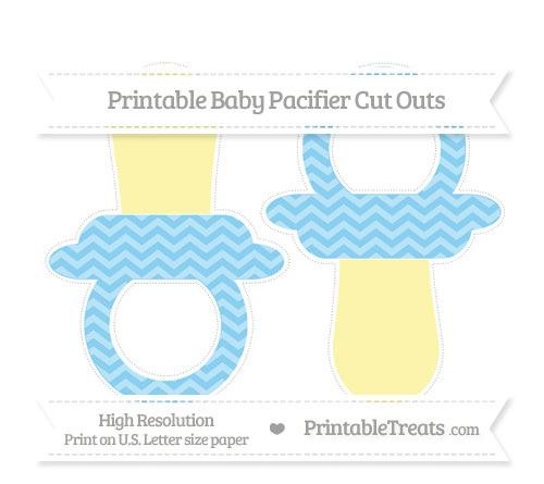 Free Baby Blue Chevron Large Baby Pacifier Cut Outs