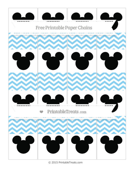 Free Baby Blue Chevron Mickey Mouse Paper Chains