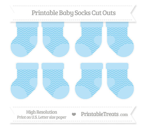 Free Baby Blue Chevron Small Baby Socks Cut Outs