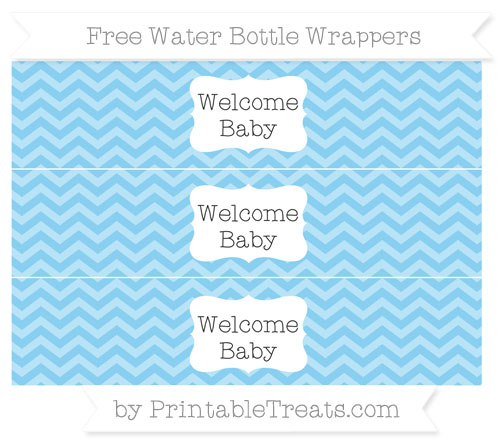 Free Baby Blue Chevron Welcome Baby Water Bottle Wrappers