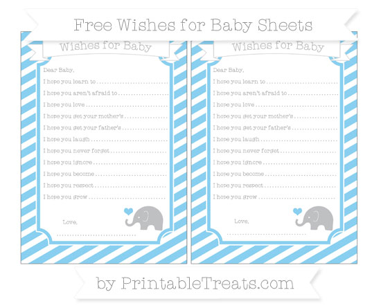 Free Baby Blue Diagonal Striped Baby Elephant Wishes for Baby Sheets
