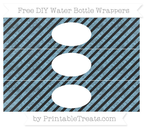 Free Baby Blue Diagonal Striped Chalk Style DIY Water Bottle Wrappers