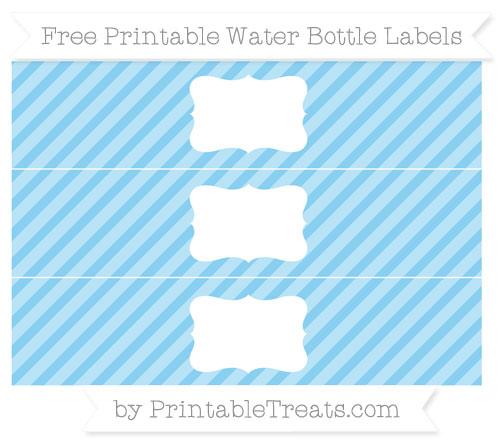 Free Baby Blue Diagonal Striped Water Bottle Labels