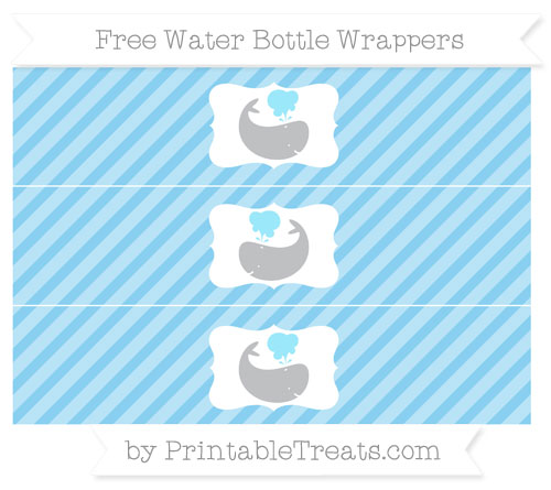 Free Baby Blue Diagonal Striped Whale Water Bottle Wrappers