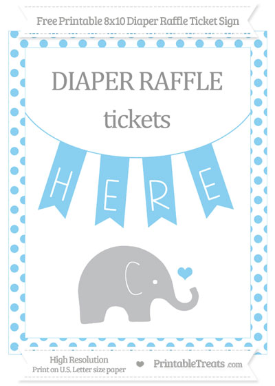 Free Baby Blue Dotted Baby Elephant 8x10 Diaper Raffle Ticket Sign