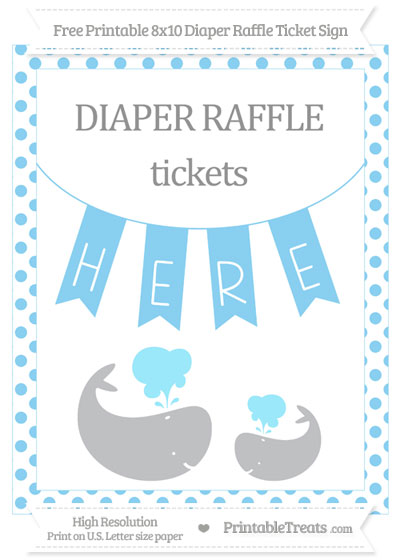 Free Baby Blue Dotted Baby Whale 8x10 Diaper Raffle Ticket Sign