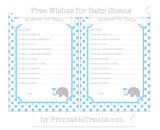 Free Baby Blue Dotted Pattern Baby Elephant Wishes for Baby Sheets