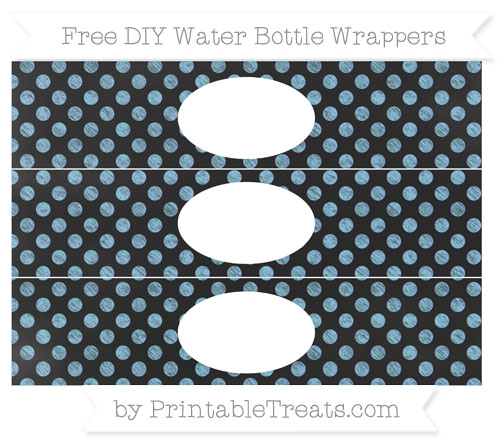 Free Baby Blue Dotted Pattern Chalk Style DIY Water Bottle Wrappers