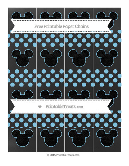 Free Baby Blue Dotted Pattern Chalk Style Mickey Mouse Paper Chains