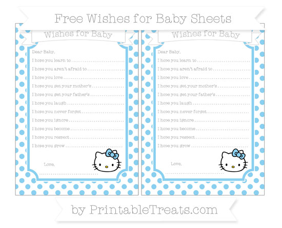 Free Baby Blue Dotted Pattern Hello Kitty Wishes for Baby Sheets