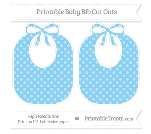 Free Baby Blue Dotted Pattern Large Baby Bib Cut Outs