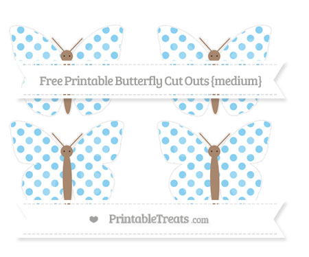 Free Baby Blue Dotted Pattern Medium Butterfly Cut Outs