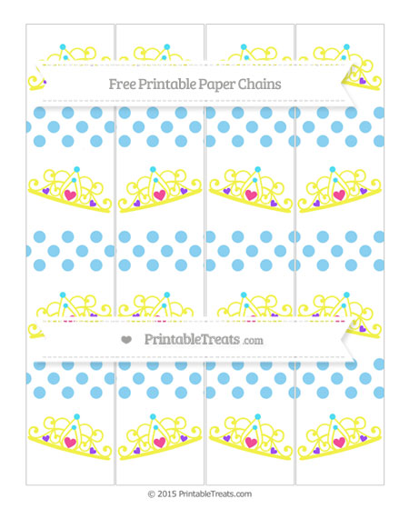 Free Baby Blue Dotted Pattern Princess Tiara Paper Chains