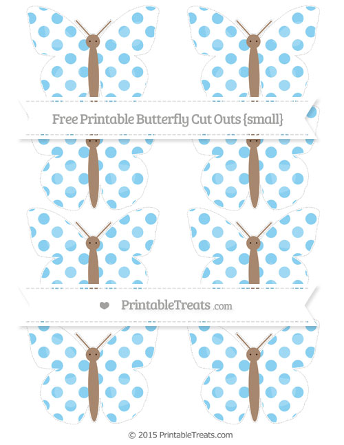 Free Baby Blue Dotted Pattern Small Butterfly Cut Outs