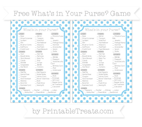 Free Baby Blue Dotted Pattern What's in Your Purse Baby Shower Game