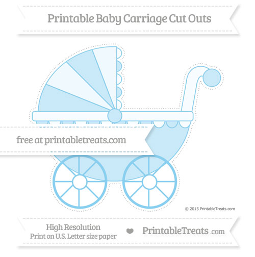 Free Baby Blue Extra Large Baby Carriage Cut Outs