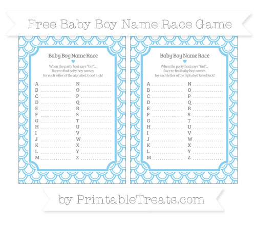 Free Baby Blue Fish Scale Pattern Baby Boy Name Race Game