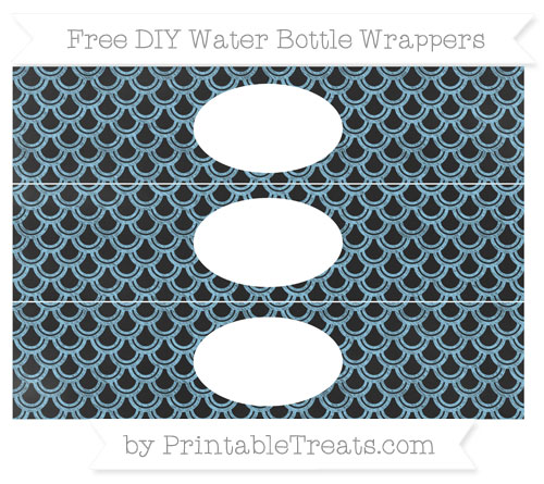 Free Baby Blue Fish Scale Pattern Chalk Style DIY Water Bottle Wrappers