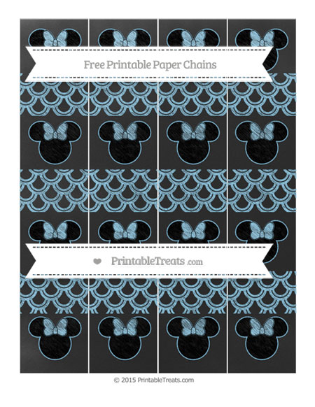 Free Baby Blue Fish Scale Pattern Chalk Style Minnie Mouse Paper Chains
