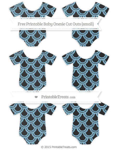 Free Baby Blue Fish Scale Pattern Chalk Style Small Baby Onesie Cut Outs