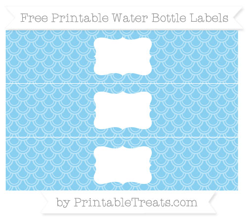 Free Baby Blue Fish Scale Pattern Water Bottle Labels