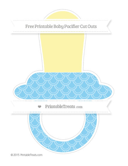 Free Baby Blue Fish Scale Pattern Extra Large Baby Pacifier Cut Outs