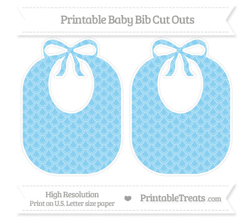 Free Baby Blue Fish Scale Pattern Large Baby Bib Cut Outs