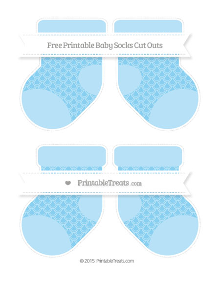 Free Baby Blue Fish Scale Pattern Medium Baby Socks Cut Outs