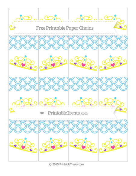 Free Baby Blue Fish Scale Pattern Princess Tiara Paper Chains