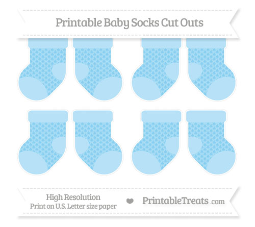 Free Baby Blue Fish Scale Pattern Small Baby Socks Cut Outs