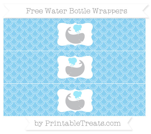 Free Baby Blue Fish Scale Pattern Whale Water Bottle Wrappers